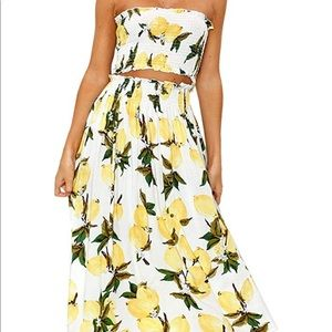 Other - Matching Lemon Ribbed Tube top & Maxi Skirt